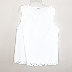 Talbots Sleeveless Top Eyelet Trim Crisp Cotton